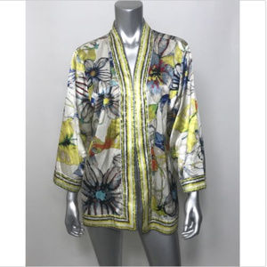 Chico's Cardigan Silk Floral Open Front